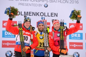 10.03.2016, Oslo, Norway (NOR): Simon Eder (AUT), Dominik Landertinger (AUT), Martin Fourcade (FRA) - IBU world championships biathlon, individual men, Oslo (NOR). www.nordicfocus.com. © Tumashov/NordicFocus. Every downloaded picture is fee-liable.