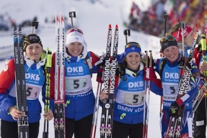11.03.2016, Oslo, Norway (NOR): Justine Braisaz (FAR), Anais Bescond (FRA), Anais Chevalier (FRA), Marie Dorin Habert (FRA), (l-r) - IBU world championships biathlon, relay women, Oslo (NOR). www.nordicfocus.com. © NordicFocus. Every downloaded picture is fee-liable.