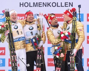 12.03.2016, Oslo, Norway (NOR): Ole Einar Bjoerndalen (NOR), Tarjei Boe (NOR), Emil Hegle Svendsen (NOR) - IBU world championships biathlon, relay men, Oslo (NOR). www.nordicfocus.com. © Tumashov/NordicFocus. Every downloaded picture is fee-liable.